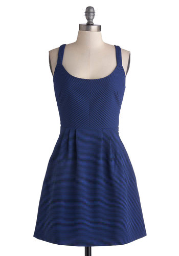 Cutout, Print, Check the Gate! Dress in Cobalt - Mid-length, Knit, Blue, Black, Stripes, Cutout, Party, A-line, Spaghetti Straps, Better, Scoop, Pockets, Variation