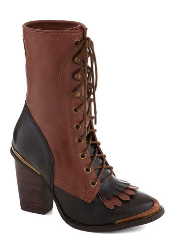 Memorable Moniker Boot by Jeffrey Campbell - Tan, Solid, Steampunk, Leather, Brown, French / Victorian, Fall, High, Lace Up