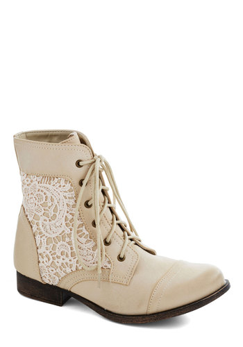 Walk on the Wildflower Side Boot in Cream - Low, Faux Leather, Cream, White, Crochet, Good, Lace Up, Solid, Casual, Boho, Variation