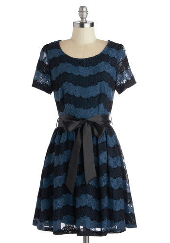 Top Deck Dinner Dress - Sheer, Knit, Mid-length, Blue, Black, Stripes, Lace, Belted, Party, A-line, Short Sleeves, Better, Scoop, Exclusives, Lace