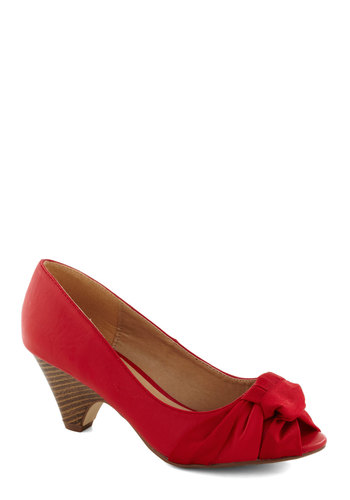 Confident Nominee Heel - Mid, Faux Leather, Red, Party, Good, Peep Toe, Solid