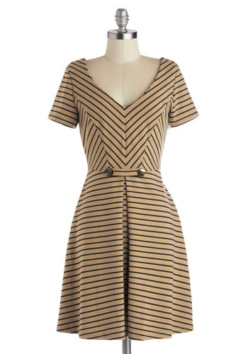 A Latte to Love Dress - Tan, Black, Stripes, A-line, Short Sleeves, V Neck, Pleats, Exclusives, Knit, Private Label, Mid-length, Casual