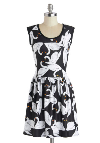 My Kinda Gallop Dress in Swans - Mid-length, Sheer, Knit, Black, White, Print with Animals, Casual, A-line, Sleeveless, Good, Scoop, Variation
