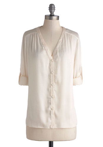Morning Motivation Top - Cream, Long Sleeve, Better, Mid-length, Woven, Solid, Buttons, Work, Daytime Party, Satin, Basic, V Neck, White, Tab Sleeve