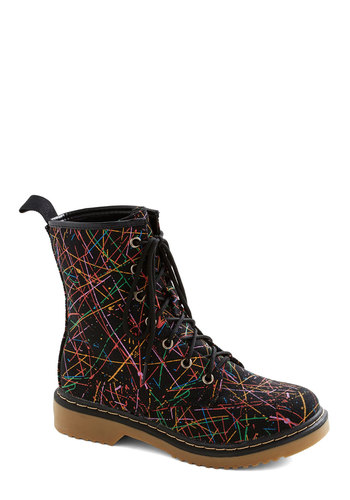 A Splash of Style Boot - Black, Multi, Print, Vintage Inspired, 90s, Low, Good, Lace Up, Casual, Fall