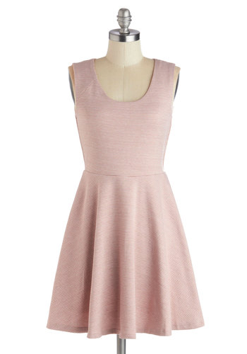 Joyful Joiner Dress - Pink, Houndstooth, Backless, Cutout, Casual, A-line, Sleeveless, Good, Scoop, Short, Knit, Party, Pastel