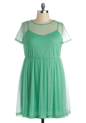 My Finest Aura Dress in Plus Size - Sheer, Knit, Mint, Solid, Party, Short Sleeves, Crew, Exclusives