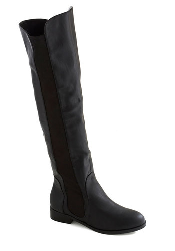 Posh With a Purpose Boot by Chelsea Crew - Low, Faux Leather, Black, Solid, Good, Minimal, Basic, Fall