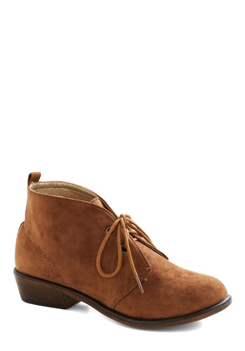 Tour Date Bootie in Brown - Tan, Solid, Menswear Inspired, Low, Lace Up, Good, Faux Leather, Variation