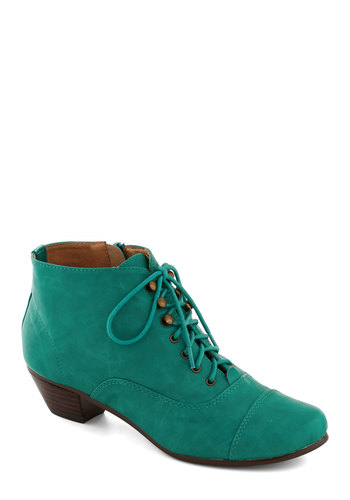 Plethora of Personality Bootie by Chelsea Crew - Mid, Leather, Blue, Solid, Good, Lace Up, Green