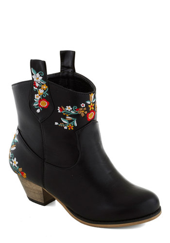 Urban Gardener Bootie - Black, Multi, Floral, Embroidery, Folk Art, Mid, Better, Faux Leather, Fall