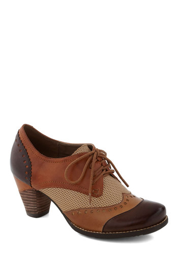 Brit Lit Heel - Brown, Multi, Menswear Inspired, Vintage Inspired, 20s, Mid, Lace Up, Leather, International Designer, Best