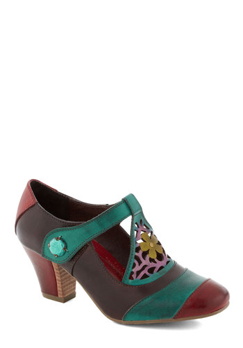 Fancy in Phoenix Heel - Multi, Cutout, Flower, Leather, International Designer, Mid, Best, Red, Yellow, Blue, Pink, Party, Work, T-Strap, Brown