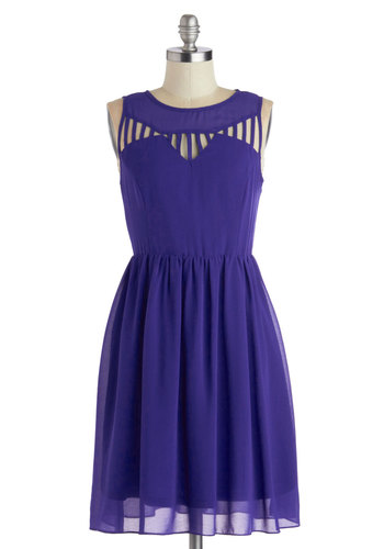 Just Be-Gauze Dress - Blue, Solid, Cutout, Party, A-line, Better, Scoop, Mid-length, Woven, Cocktail