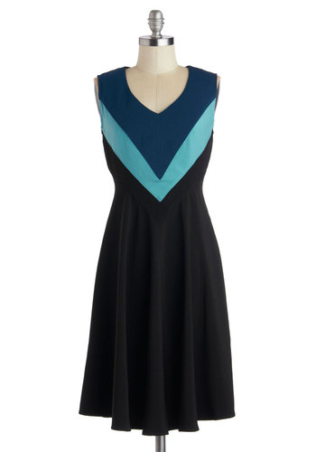 Meet Me by the Fountain Dress - Long, Knit, Black, Blue, Party, A-line, Sleeveless, Better, V Neck