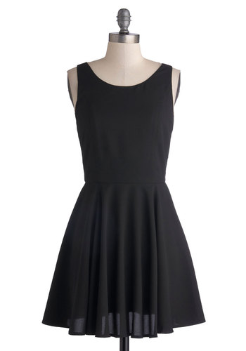 Little Black Dress Rehearsal - Black, Solid, Bows, Party, A-line, Tank top (2 thick straps), Good, Scoop, Short, Knit, Cutout, LBD