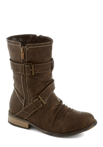 Forest Fest Boot - Brown, Solid, Buckles, Trim, Low, Faux Leather, Good, Rustic