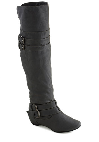 Taking Your Time Boot - Grey, Solid, Buckles, Mid, Faux Leather, Good, Fall, Over the Knee