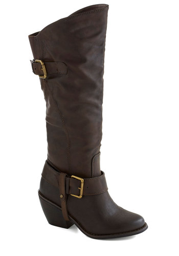 Molasses Masterpiece Boot - Brown, Buckles, Better, Chunky heel, Mid, Faux Leather, Solid, Fall
