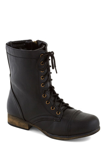 Path and Present Boot in Black - Black, Solid, Steampunk, Faux Leather, Lace Up, Low, Good, Casual, Urban, Variation