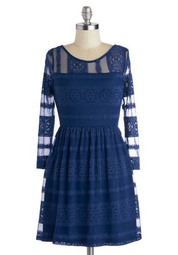 A Stunning Start Dress - Sheer, Blue, Solid, Party, A-line, Long Sleeve, Good, Scoop, Short, Lace, Knit, Fall, Lace