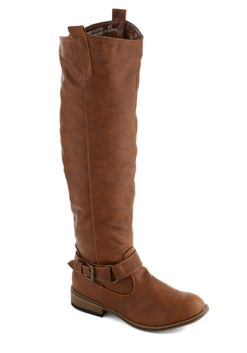 In Distillery of the Night Boot - Tan, Solid, Buckles, Low, Faux Leather, Good, Casual, Rustic, Fall