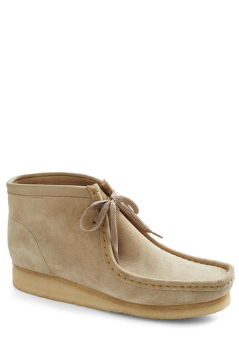 Walk the Walkabout Bootie - Tan, Solid, Menswear Inspired, Low, Best, Lace Up, Leather, Suede