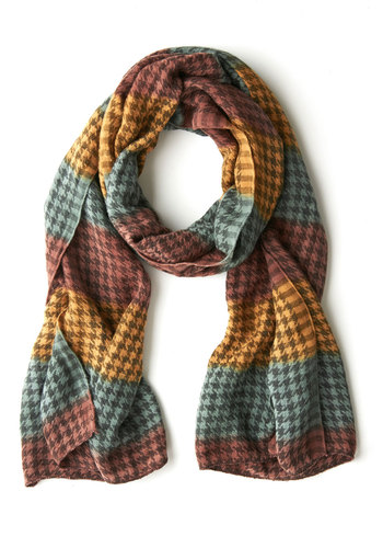 Season d'Etre Scarf - Red, Yellow, Blue, Houndstooth, Fall, Winter, Woven, Brown