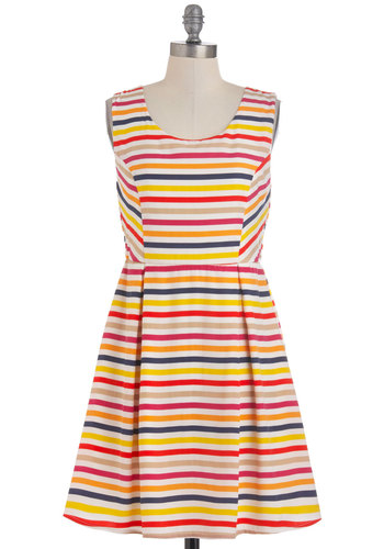Bright on the Brink Dress - Mid-length, Multi, Red, Orange, Yellow, Pink, Stripes, Casual, Vintage Inspired, Sleeveless