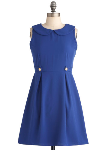 Demure So Chic Dress - Mid-length, Vintage Inspired, Blue, Solid, Exposed zipper, Peter Pan Collar, Pockets, A-line, Sleeveless, Buttons, 60s, Holiday Sale, Collared