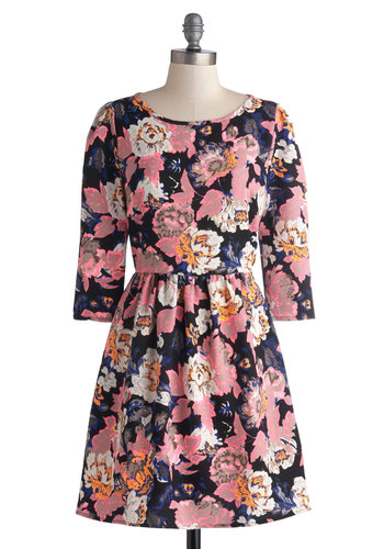 Illuminate the Night Dress - Mid-length, Woven, Floral, Party, A-line, 3/4 Sleeve, Good, Scoop, Multi