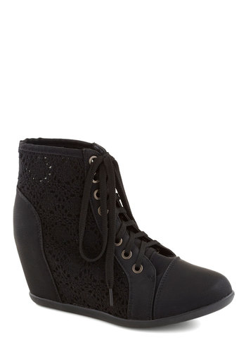 Enchanté Crochet Bootie - Mid, Faux Leather, Black, Solid, Crochet, Good, Wedge, Lace Up, Fall