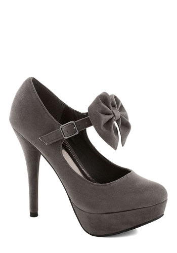 Woo Cute Heel in Grey - High, Grey, Solid, Bows, Formal, Prom, Party, Girls Night Out, Bridesmaid, Good, Platform, Cocktail, Holiday Party, Faux Leather, Variation