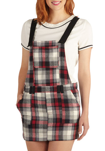 School and Confident Jumper - Good, Long, Cotton, Woven, Plaid, Pockets, Casual, Scholastic/Collegiate, Multi, Jumper, Multi