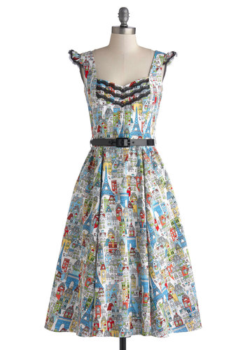 Moi Favorite Things Dress by Bernie Dexter - Long, Cotton, Woven, Multi, Novelty Print, Pockets, Ruffles, Trim, Belted, A-line, Better, Sweetheart, Lace, Vintage Inspired, 50s, French / Victorian, Cap Sleeves, Red, Yellow, Green, Blue, Black, White, Daytime Party, Travel