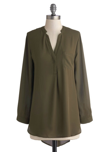 Olive the Above Top - Green, Solid, Pockets, Military, Long Sleeve, Good, Long, Chiffon, Sheer, Woven, Casual, V Neck, Green, Long Sleeve