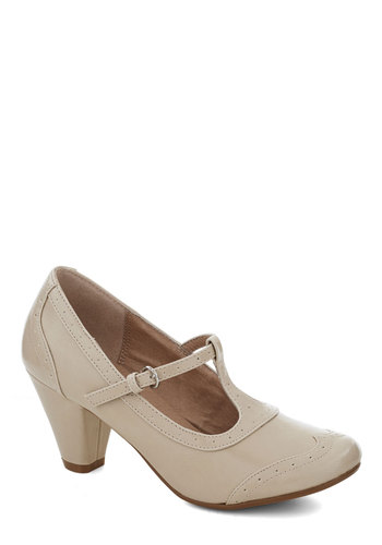 Gallery Opener Heel in Ecru by Chelsea Crew - Faux Leather, Solid, Work, Good, Mid, Cream, Party, Daytime Party, Vintage Inspired, 20s, 30s, Variation, T-Strap