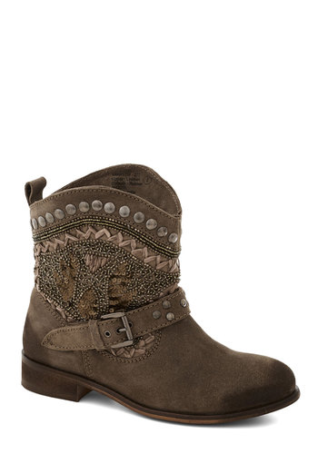 Sequined Ingredient Boot - Tan, Buckles, Crochet, Studs, Boho, Low, Better, Suede, Beads, Leather