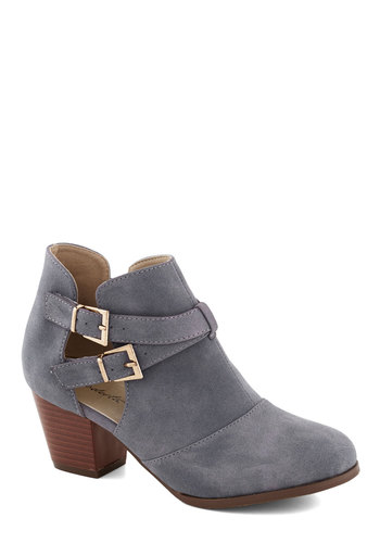 Puddle Reflection Heel - Blue, Solid, Buckles, Cutout, Mid, Chunky heel, Good, Faux Leather