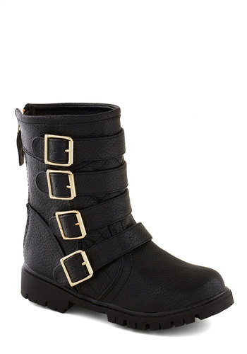 Quadruple the Clout Boot - Black, Solid, Buckles, Faux Leather, Better, Low, Urban, 90s