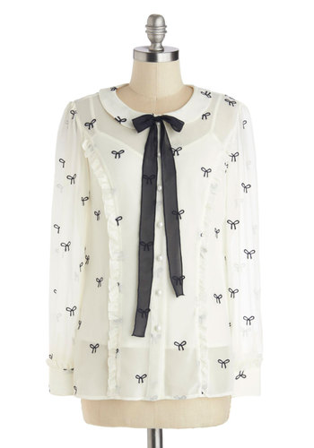 Best of Bows Worlds Top by Nishe - Mid-length, Woven, White, Black, Novelty Print, Bows, Buttons, Peter Pan Collar, Tie Neck, Work, Vintage Inspired, Long Sleeve, International Designer, Collared, White, Long Sleeve