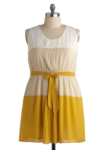 Cumin Kindness Dress in Plus Size - Mid-length, Woven, Yellow, Tan / Cream, White, Belted, Casual, A-line, Tank top (2 thick straps), Good, Scoop, Pleats