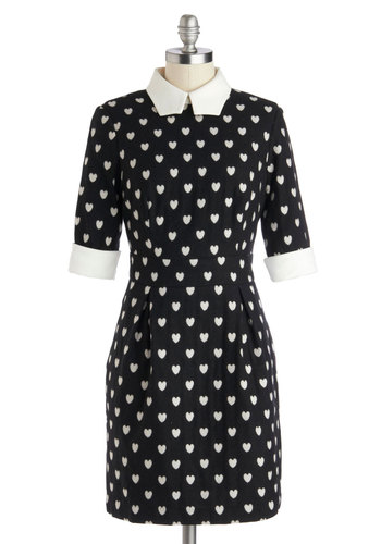 A Lot to Love Dress - Black, White, Mid-length, Woven, Novelty Print, Pockets, Trim, Work, Sheath / Shift, Good, Collared, Short Sleeves, Fall, Valentine's