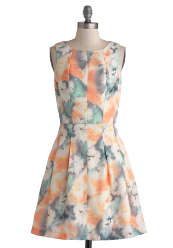 Sorbet Okay! Dress by Bea & Dot - Mid-length, Woven, Orange, Green, Tan / Cream, Grey, Print, Pleats, A-line, Sleeveless, Better, Scoop, Multi, Tie Dye, Daytime Party, Pastel, Exclusives, Private Label, Graduation, Spring, Wedding, Bridesmaid, Top Rated