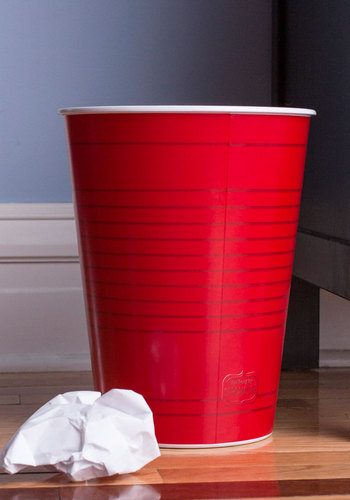 Party Cup in Here Trash Can - Red, Dorm Decor, Good, Solid