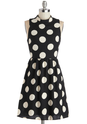 Spotted Downtown Dress - Mid-length, Woven, Black, White, Polka Dots, Party, A-line, Sleeveless, Good