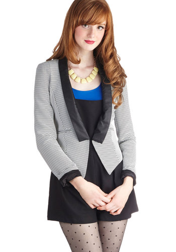 Guest Conductor Blazer - Faux Leather, Short, Black, Stripes, Party, Work, Menswear Inspired, Long Sleeve, 1, Pockets, Cocktail, Multi