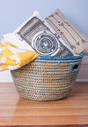Bin There, Done That Basket by Karma Living - Blue, Boho, Better, Tan / Cream, Woven