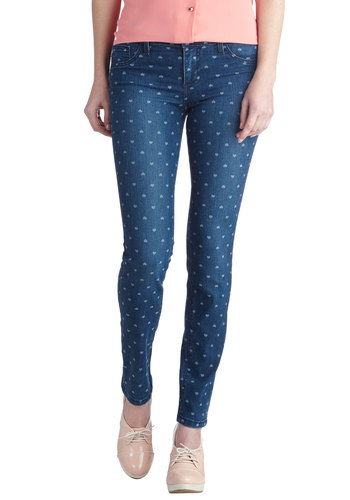 Romantic at Heart Jeans - Woven, Blue, Novelty Print, Pockets, Casual, Skinny, Good, Denim, Valentine's