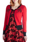 Rouge Radiance Cardigan - Knit, Red, Embroidery, Long Sleeve, Better, Black, Buttons, Trim, Casual, Red, Long Sleeve, Valentine's